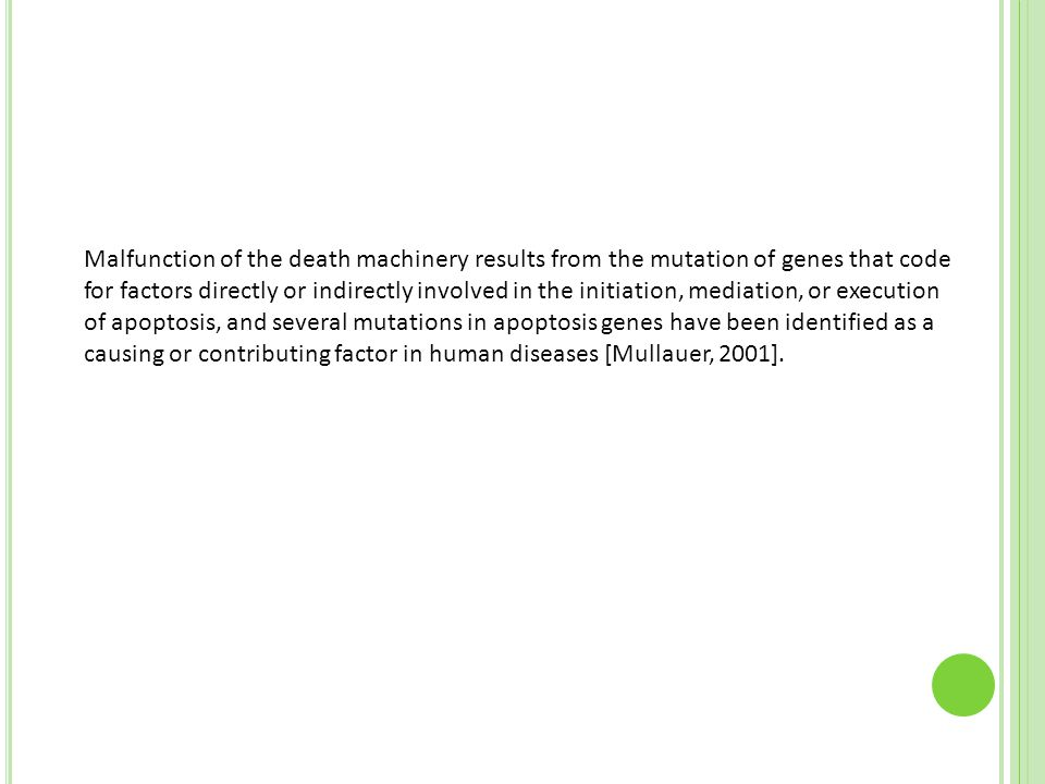 Malfunction of the death machinery results from the mutation of genes that code for factors directly or indirectly involved in the initiation, mediation, or execution of apoptosis, and several mutations in apoptosis genes have been identified as a causing or contributing factor in human diseases [Mullauer, 2001].